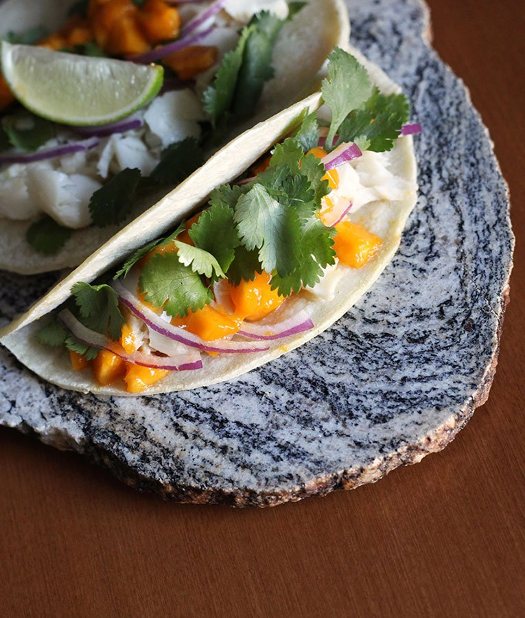 american stonecraft unique plate handmade stone serving dish fish tacos cilantro mango lime handmade food slab