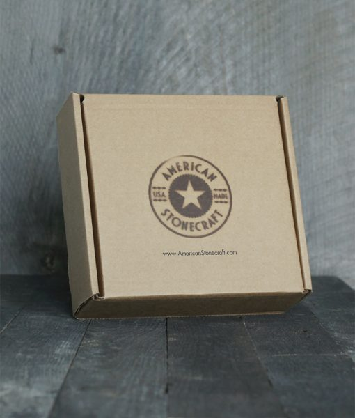 American Stonecraft packaging branded box for handmade fieldstone bowl bowlder