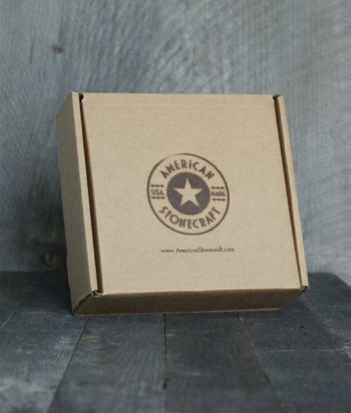 American Stonecraft packaging branded box for handmade fieldstone bowl bowlder